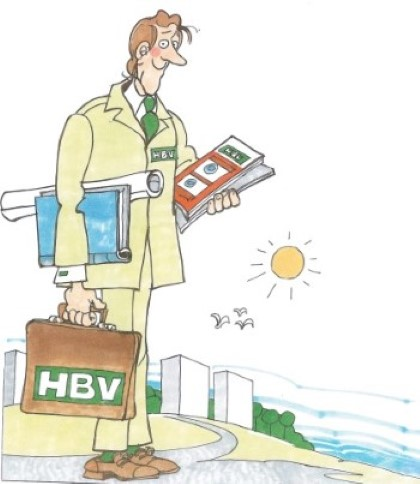 Illustration av man med HBV-portfölj